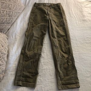 Madewell green fatigue pants straight / wide leg